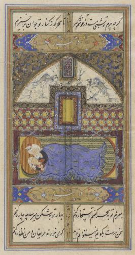 Painting from Manuscript of The Diwan of HafizIran, Safavid, 16th centuryManuscripts; foliosInk, colors, and gold on paper9 3/8 x 5 9/16 in. (23.81 x 14.12 cm); Mount: 19 1/4 x 14 1/4 in. (48.89 x 36.19 cm)The Madina Collection of Islamic Art, gift of Camilla Chandler Frost (M.2002.1.648)گر چه پیرم تو شبی تنگ در آغوشم کشتا سحرگه ز کنار تو جوان برخیزم