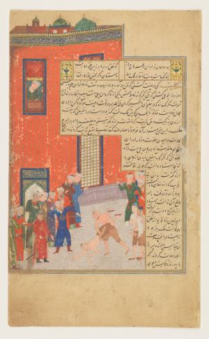 The wrestling match, from Prince Baysunghur's Rose Garden (Gulistan) by Sa`di.