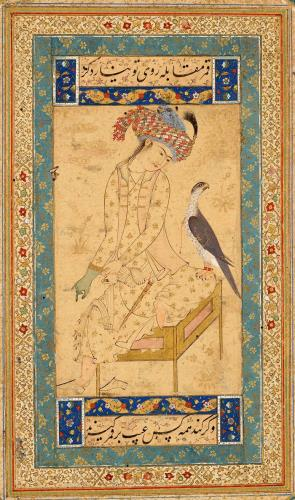 Youth Pulling on a Falconers GlovePaintings of young nobleman with their falcons became especially popular during the late sixteenth century. Here a young nobleman, pulling on a leather falconers glove, gazes at his pet falcon perched on his knee. An elaborate scarf is wrapped around his turban, and a knife hangs from his waist. The birds red halsband is secured by a gold clasp and red leg bands with bells. This work is after Ḥabīb-Allāh al-Mashhadī, who worked at Ḥusain Shāmlūs court in Herat. - قمر مقابله با روی او نیارد کردو گر کند همه کس عیب بر قمر گیرند » Youth Pulling on a Falconers GlovePaintings of young nobleman with their falcons became especially popular during the late sixteenth century. Here a young nobleman, pulling on a leather falconers glove, gazes at his pet falcon perched on his knee. An elaborate scarf is wrapped around his turban, and a knife hangs from his waist. The birds red halsband is secured by a gold clasp and red leg bands with bells. This work is after Ḥabīb-Allāh al-Mashhadī, who worked at Ḥusain Shāmlūs court in Herat. - قمر مقابله با روی او نیارد کردو گر کند همه کس عیب بر قمر گیرند