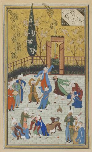 Folio from a Divan (collected poems) by Hafiz (d. 1390); recto: Sufi dance; verso: text - بیفشان زلف و صوفی را به پابازی و رقص آورکه از هر رقعه دلقش هزاران بت بیفشانی