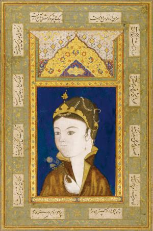 A PORTRAIT OF A PRINCESS, PERSIAمصوری که کشد نقش آن بت چین راتوان بصورت او داد جان شیرین راتصویر شاهزاده خانم، مورخ ۹۳۵ هجری قمری / ۱۵۲۸ میلادینقاشی: ۹.۳ در۶.۶ سانتیمتر.برگ: ۲۷.۳ توسط ۱۶.۲ سانتیمتر.AN ILLUSTRATED AND ILLUMINATED ALBUM PAGE: A PORTRAIT OF A PRINCESS, PERSIA, DATED ۹۳۵ AH/۱۵۲۸ ADGouache heightened with gold on paper, couplet in white Thuluth written below, dated above within an illuminated headpiece with gold and polychrome flowers, laid down on a late sixteenth-century album page comprising illuminated panels, calligraphic cartouches and gold-decorated bordersPainting: ۹.۳ by ۶.۶cm.Leaf: ۲۷.۳ by ۱۶.۲cm. » A PORTRAIT OF A PRINCESS, PERSIAمصوری که کشد نقش آن بت چین راتوان بصورت او داد جان شیرین راتصویر شاهزاده خانم، مورخ ۹۳۵ هجری قمری / ۱۵۲۸ میلادینقاشی: ۹.۳ در۶.۶ سانتیمتر.برگ: ۲۷.۳ توسط ۱۶.۲ سانتیمتر.AN ILLUSTRATED AND ILLUMINATED ALBUM PAGE: A PORTRAIT OF A PRINCESS, PERSIA, DATED ۹۳۵ AH/۱۵۲۸ ADGouache heightened with gold on paper, couplet in white Thuluth written below, dated above within an illuminated headpiece with gold and polychrome flowers, laid down on a late sixteenth-century album page comprising illuminated panels, calligraphic cartouches and gold-decorated bordersPainting: ۹.۳ by ۶.۶cm.Leaf: ۲۷.۳ by ۱۶.۲cm.