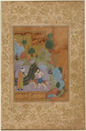 The pious man riding a panther, from the Garden (Bustan) of Sadi. A man stares in astonishment to see someone riding through the landscape on a wild panther, holding a snake in one hand. Sa`di tells this anecdote about a particularly pious individual, who has achieved such willing submission to God, that all dangerous creatures have submitted willingly to him. Folio, ink, colours and gold on paper, later re-margined, Persian text in nasta`liq script, painting (with faces retouched?) on verso, from the Garden (Bustan) of Sa`di, folio detached from the codex (CBL Per ۱۵۶) signed by Mir Shaykh Muhammad ibn Shaykh Ahmad, possibly Herat, Afghanistan, dated Shawwal ۸۸۳H, January  » The pious man riding a panther, from the Garden (Bustan) of Sadi. A man stares in astonishment to see someone riding through the landscape on a wild panther, holding a snake in one hand. Sa`di tells this anecdote about a particularly pious individual, who has achieved such willing submission to God, that all dangerous creatures have submitted willingly to him. Folio, ink, colours and gold on paper, later re-margined, Persian text in nasta`liq script, painting (with faces retouched?) on verso, from the Garden (Bustan) of Sa`di, folio detached from the codex (CBL Per ۱۵۶) signed by Mir Shaykh Muhammad ibn Shaykh Ahmad, possibly Herat, Afghanistan, dated Shawwal ۸۸۳H, January