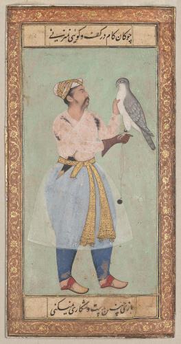 Portrait of nobleman with a falcon; ca. 1610 mughal. | Museum of Fine Arts, Boston - چوگان کام در کف و گویی نمیزنیبازی چنین به دست و شکاری نمیکنی
