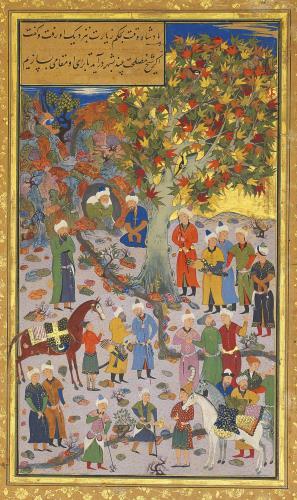 محمود مذهب - VISIT TO A DERVISHSIGNED MAHMUD MUZAHHIB, BUKHARA, DATED AH 968/1560-61 AD - پادشاهی به حکم زیارت به نزدیک وی رفت و گفت: اگر مصلحت بینی به شهر اندر برای تو مقامی بسازم